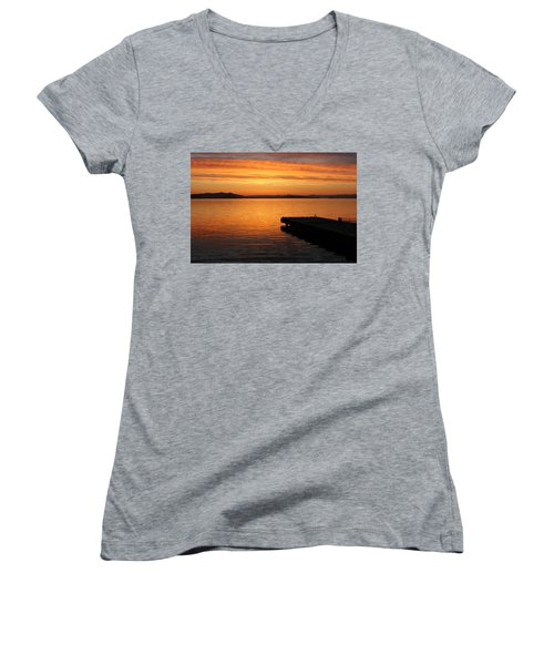 Dawn On The Water At Dusavik Women's V-Neck
