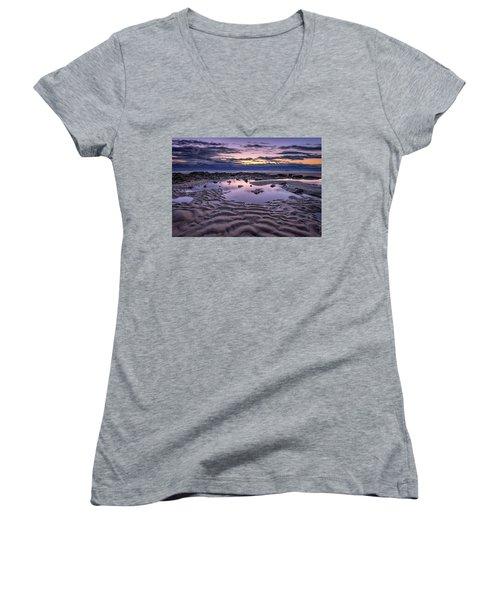 Women's V-Neck T-Shirt (Junior Cut) featuring the photograph Dawn On Wells Beach by Rick Berk
