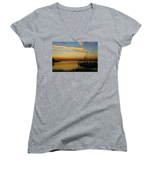 Dawn Over The Bay Women's V-Neck (Athletic Fit)