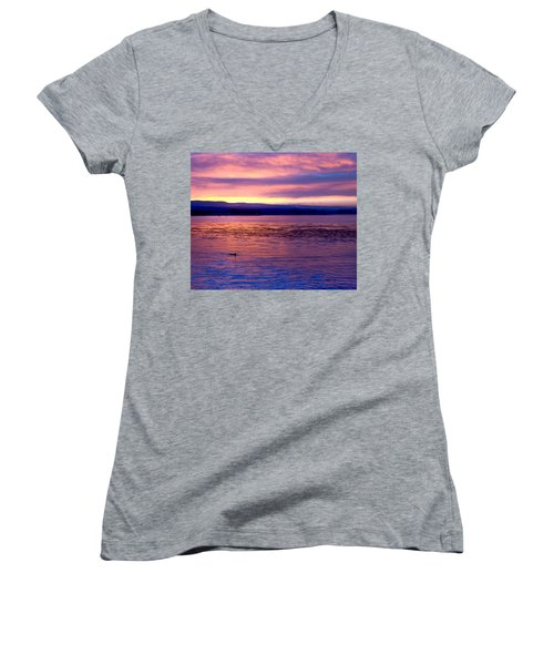 Dawn Patrol Women's V-Neck T-Shirt (Junior Cut) by Lora Lee Chapman