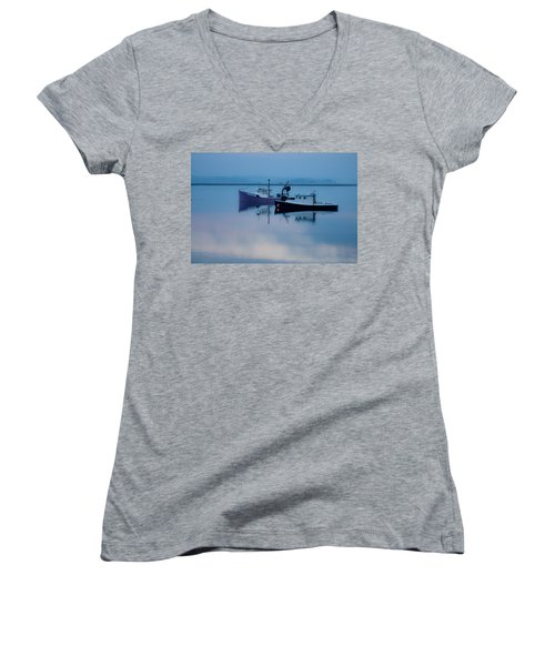Women's V-Neck T-Shirt (Junior Cut) featuring the photograph Dawn Rising Over The Harbor by Jeff Folger