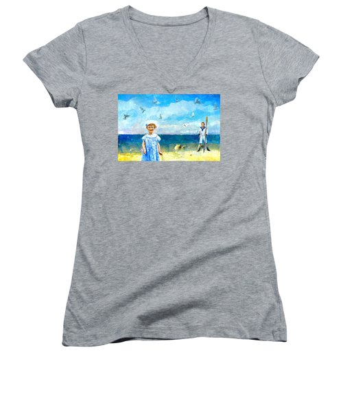 Day At The Shore Women's V-Neck T-Shirt (Junior Cut) by Alexis Rotella