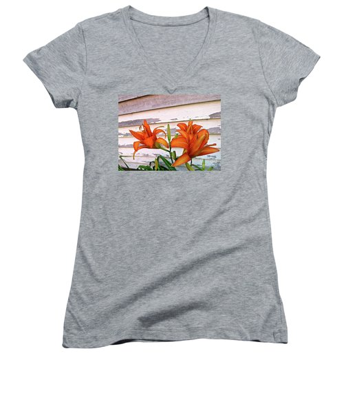 Day Lilies And Peeling Paint Women's V-Neck T-Shirt (Junior Cut) by Nancy Patterson