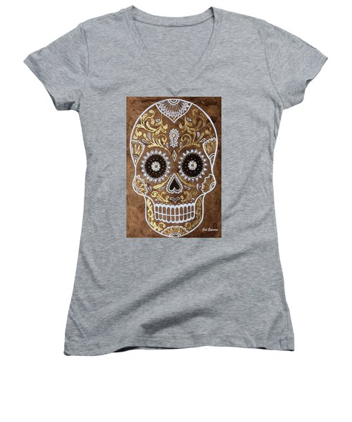 Women's V-Neck T-Shirt (Junior Cut) featuring the painting Day Of Death by J- J- Espinoza