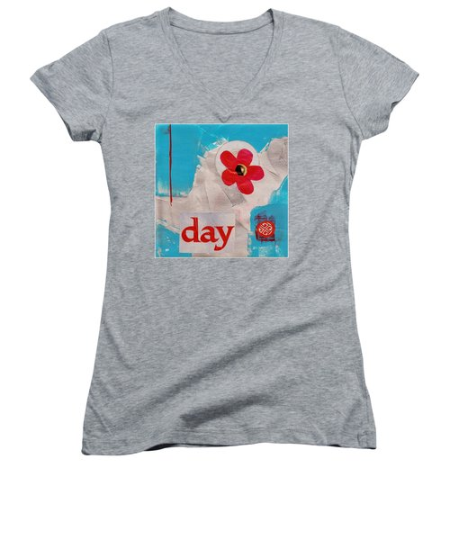 Women's V-Neck T-Shirt (Junior Cut) featuring the painting Day by Patricia Cleasby