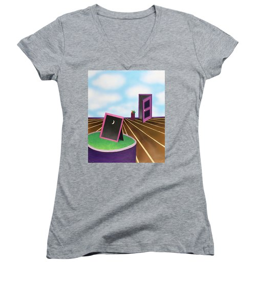 Women's V-Neck T-Shirt (Junior Cut) featuring the painting Day by Thomas Blood