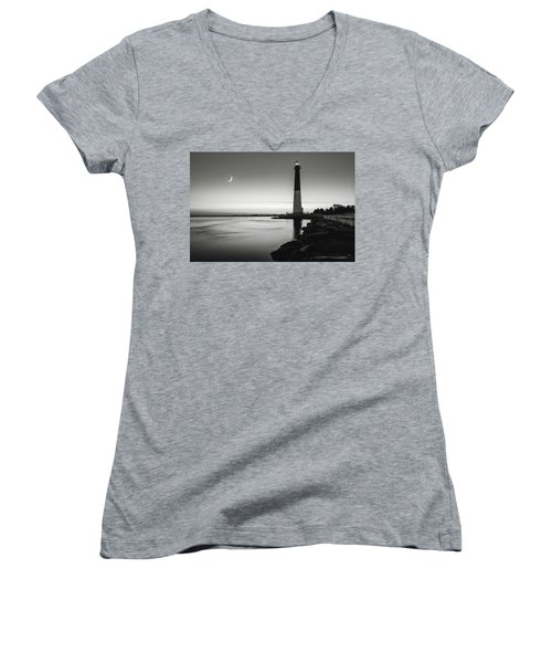 Daybreak At Barnegat, Black And White Women's V-Neck T-Shirt (Junior Cut) by Eduard Moldoveanu
