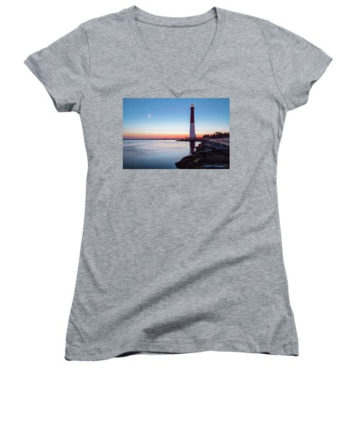 Women's V-Neck T-Shirt (Junior Cut) featuring the photograph Daybreak At Barnegat by Eduard Moldoveanu