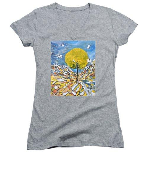 Daybreak Women's V-Neck T-Shirt (Junior Cut) by Evelina Popilian