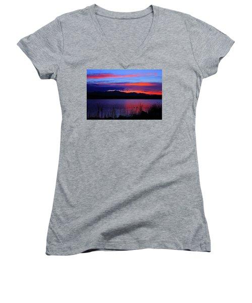 Daybreak Sunset Women's V-Neck T-Shirt (Junior Cut) by Paul Marto