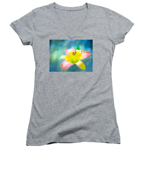 Daylily In Blue Women's V-Neck