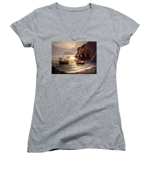 Day's End And Work Begins In The Gulf Of Naples Women's V-Neck