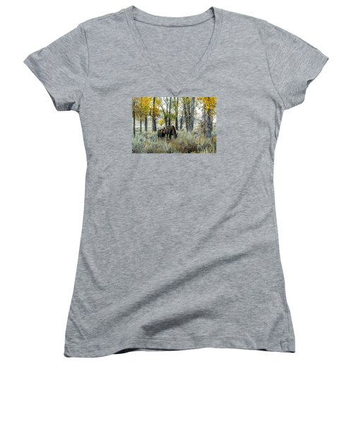 Women's V-Neck T-Shirt (Junior Cut) featuring the photograph Day's End At Gros Ventre by Yeates Photography