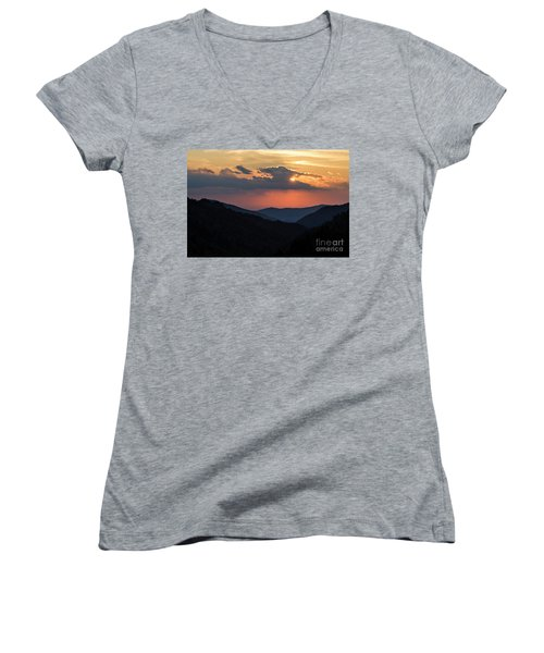 Women's V-Neck T-Shirt (Junior Cut) featuring the photograph Days End In The Smokies - D009928 by Daniel Dempster