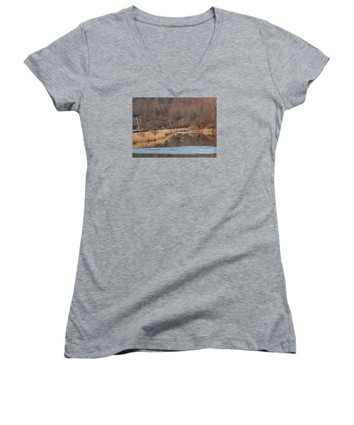 Women's V-Neck T-Shirt (Junior Cut) featuring the photograph Days Gone Bye by Christian Mattison