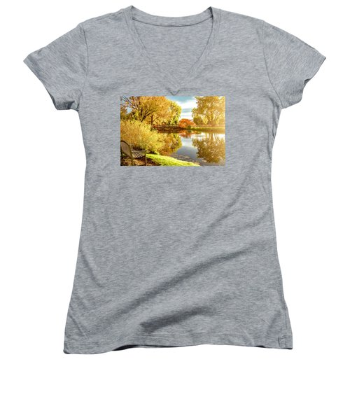 Women's V-Neck T-Shirt (Junior Cut) featuring the photograph Days Last Rays by Kristal Kraft