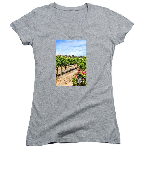 Days Of Vines And Roses Women's V-Neck T-Shirt (Junior Cut) by Chris Smith