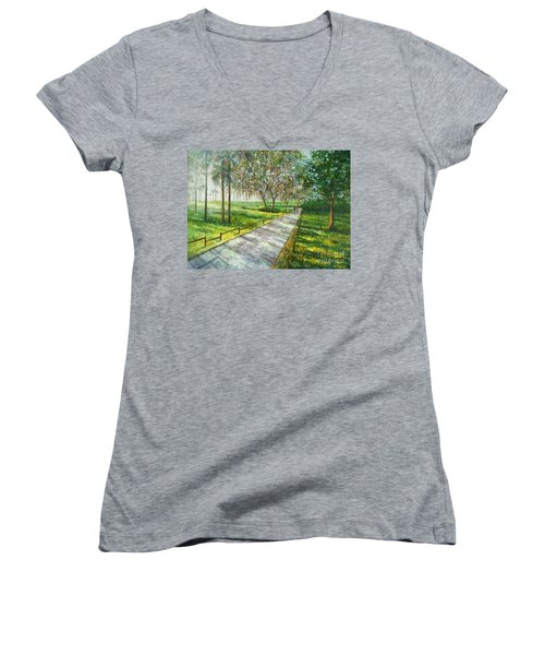 Dayspring Retreat Women's V-Neck T-Shirt (Junior Cut) by Lou Ann Bagnall