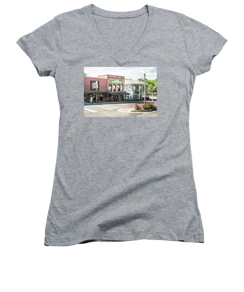 Women's V-Neck T-Shirt (Junior Cut) featuring the photograph Daytime In Old Town Helena by Parker Cunningham