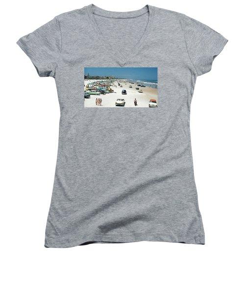 Daytona Beach Florida - 1957 Women's V-Neck T-Shirt (Junior Cut) by Merton Allen