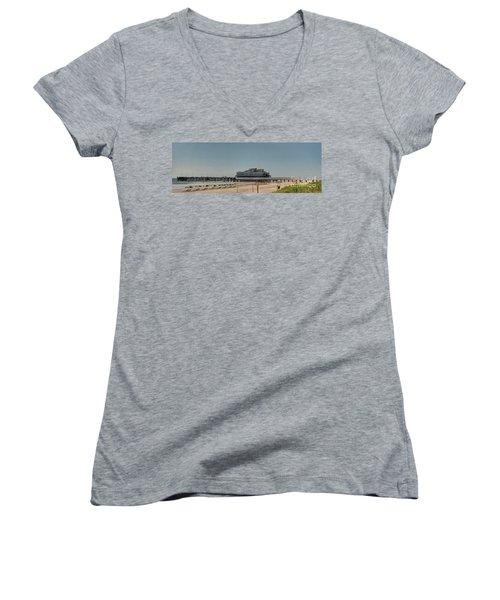 Daytona Beach Pier Pano Women's V-Neck T-Shirt