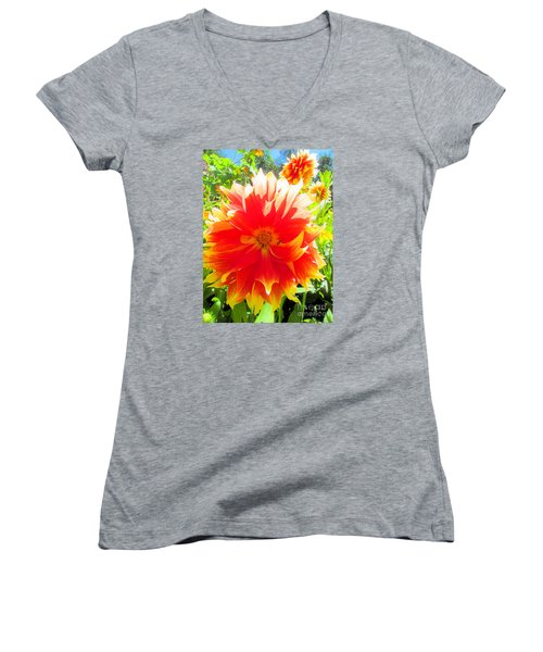 Dazzling Dahlia Women's V-Neck T-Shirt (Junior Cut) by Elizabeth Dow