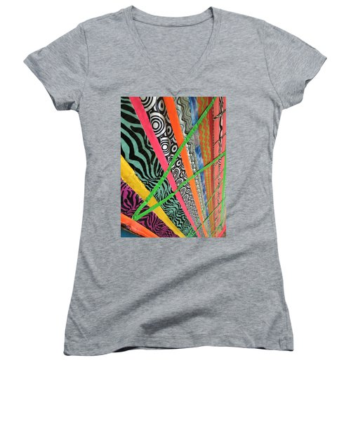 Women's V-Neck T-Shirt (Junior Cut) featuring the photograph Dazzling Delirious Duct Tape Diagonals by Douglas Fromm