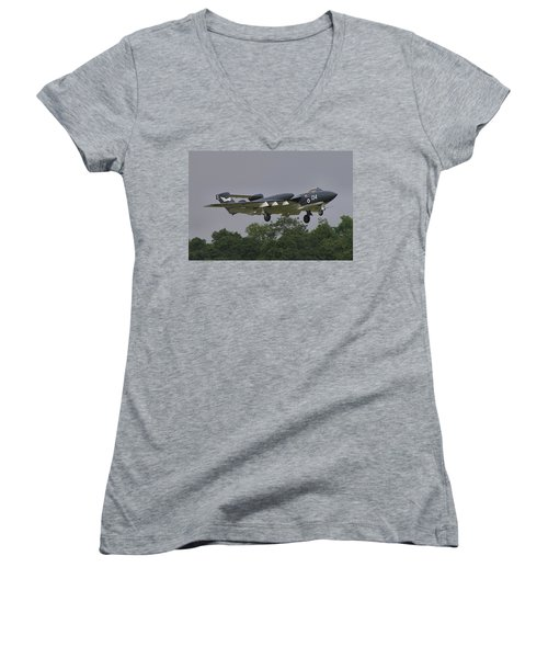 Women's V-Neck T-Shirt (Junior Cut) featuring the photograph De Havilland Dh110 Sea Vixen  by Tim Beach