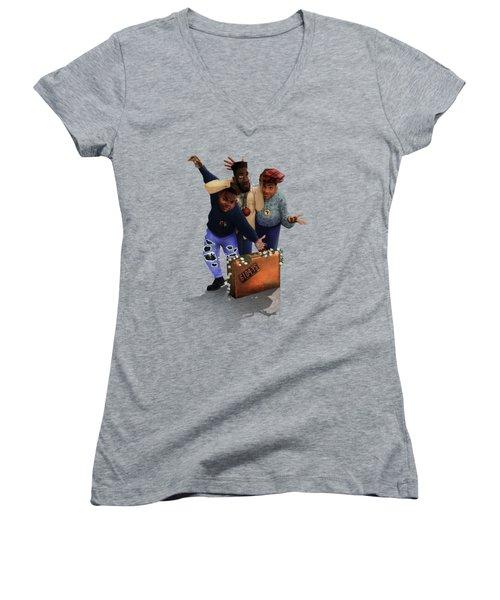 De La Soul Women's V-Neck T-Shirt (Junior Cut) by Nelson  Dedos Garcia