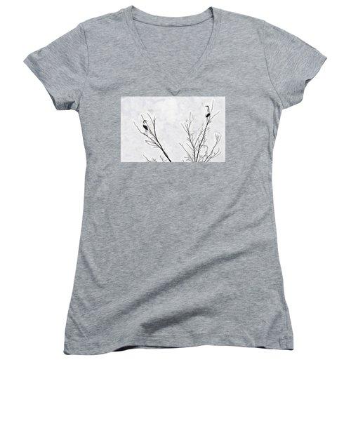 Dead Creek Cranes Women's V-Neck T-Shirt (Junior Cut) by Jim Proctor