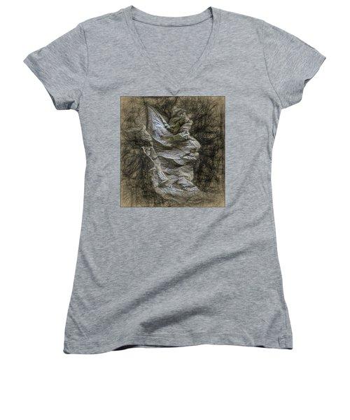 Dead Leaf Women's V-Neck T-Shirt (Junior Cut) by Vladimir Kholostykh