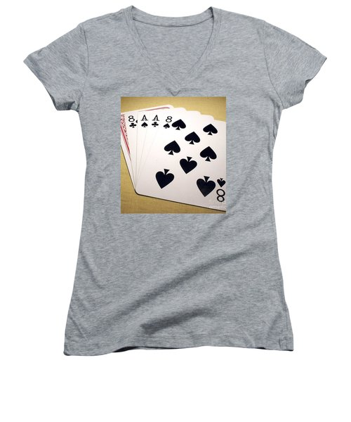 Women's V-Neck T-Shirt (Junior Cut) featuring the photograph Dead Mans Hand by Pg Reproductions