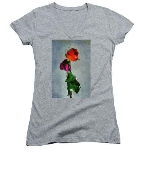 Women's V-Neck T-Shirt (Junior Cut) featuring the digital art Dead Roses by Francesa Miller
