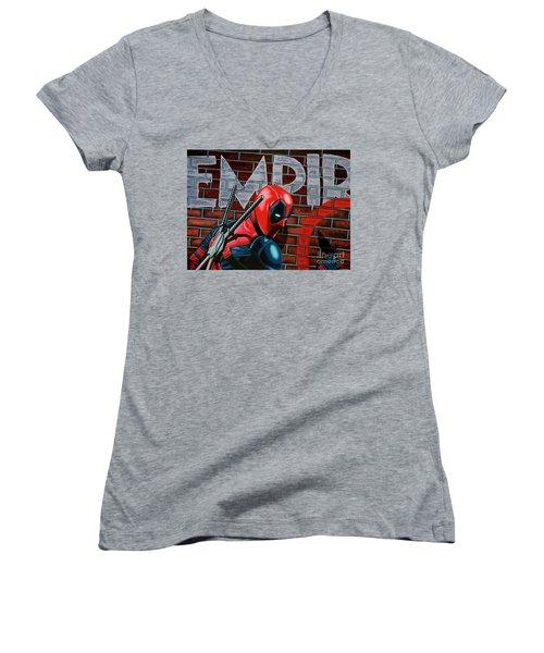 Deadpool Painting Women's V-Neck T-Shirt (Junior Cut) by Paul Meijering