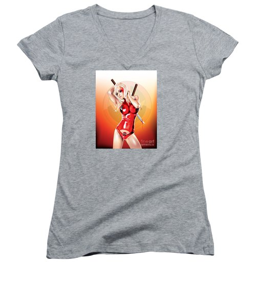 Women's V-Neck T-Shirt (Junior Cut) featuring the drawing Deadpool With Jen by Brian Gibbs