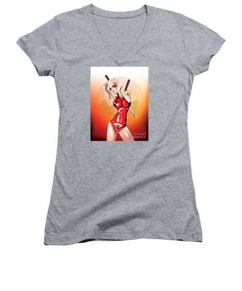 Deadpool With Jen Women's V-Neck T-Shirt (Junior Cut)