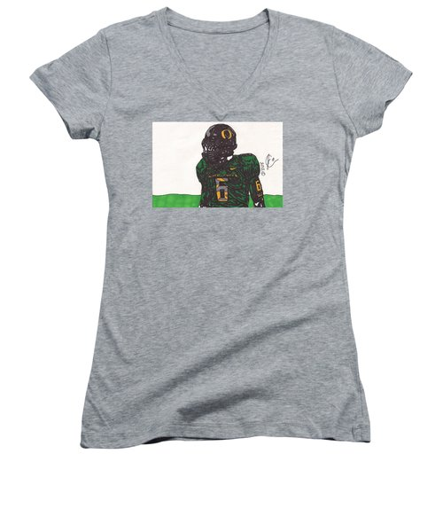 De'anthony Thomas 2 Women's V-Neck T-Shirt (Junior Cut) by Jeremiah Colley
