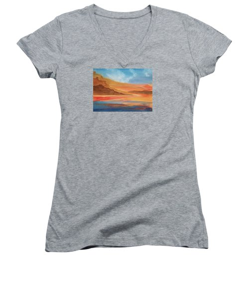 Women's V-Neck T-Shirt (Junior Cut) featuring the painting Death Valley by Ellen Levinson