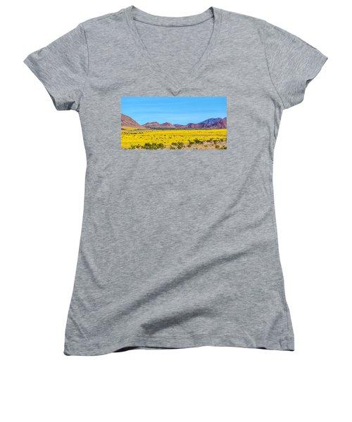 Death Valley Super Bloom 2016 Women's V-Neck T-Shirt (Junior Cut) by Peter Tellone