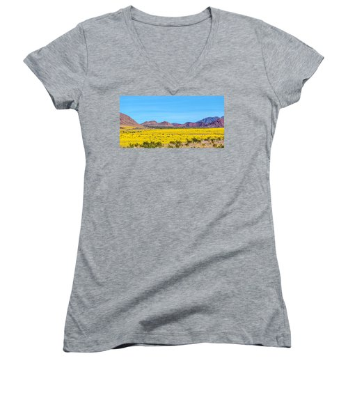 Death Valley Super Bloom 2016 Women's V-Neck (Athletic Fit)