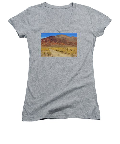 Women's V-Neck T-Shirt (Junior Cut) featuring the photograph Death Valley Superbloom 205 by Daniel Woodrum