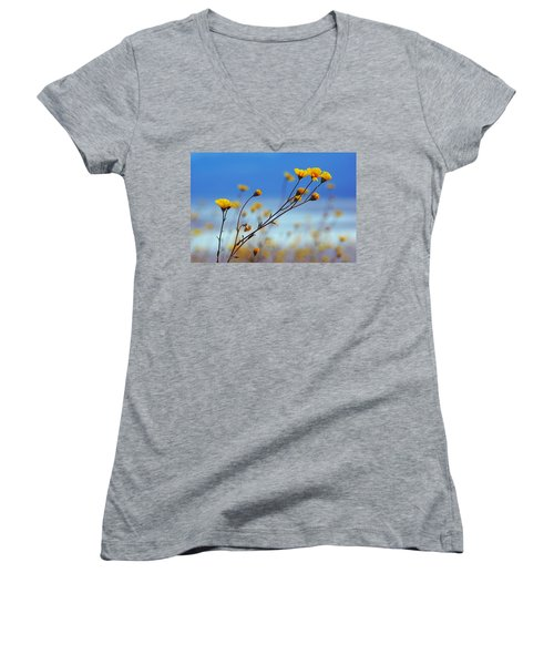 Women's V-Neck T-Shirt (Junior Cut) featuring the photograph Death Valley Superbloom 502 by Daniel Woodrum