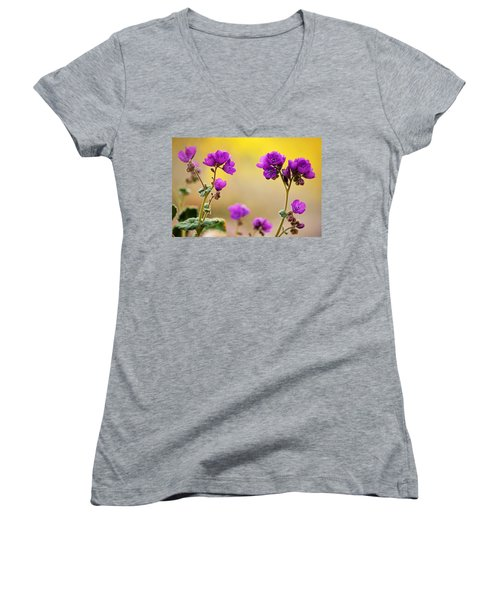 Women's V-Neck T-Shirt (Junior Cut) featuring the photograph Death Valley Superbloom 506 by Daniel Woodrum