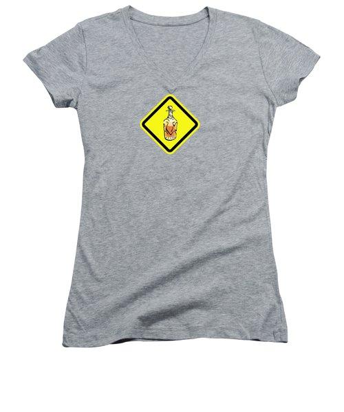 Decanter Hazard Women's V-Neck T-Shirt (Junior Cut) by Stan  Magnan