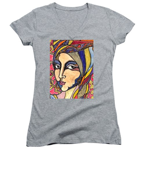 Women's V-Neck T-Shirt (Junior Cut) featuring the painting Decoface 3 by Rae Chichilnitsky