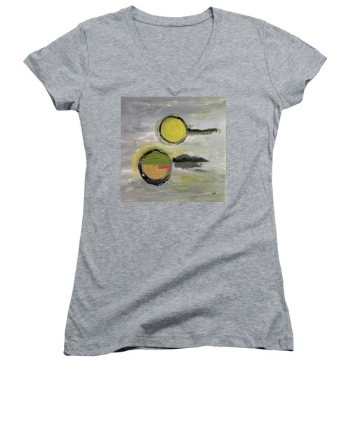 Women's V-Neck T-Shirt (Junior Cut) featuring the painting Deconstruction by Victoria Lakes