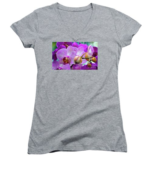 Decorative Fuschia Orchid Still Life Women's V-Neck