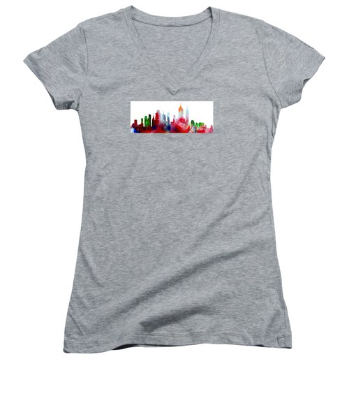 Decorative Skyline Abstract New York P1015c Women's V-Neck