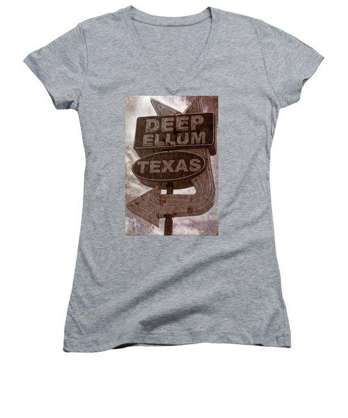 Deep Ellum Texas Women's V-Neck T-Shirt (Junior Cut) by Jonathan Davison