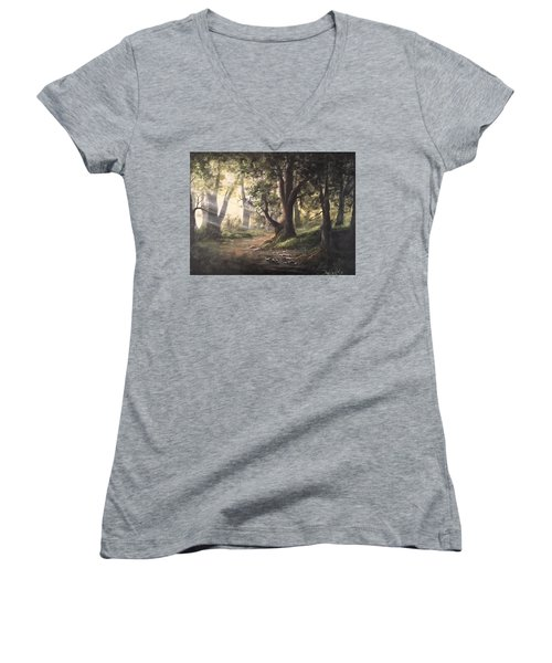 Deep Forest Rays  Women's V-Neck T-Shirt